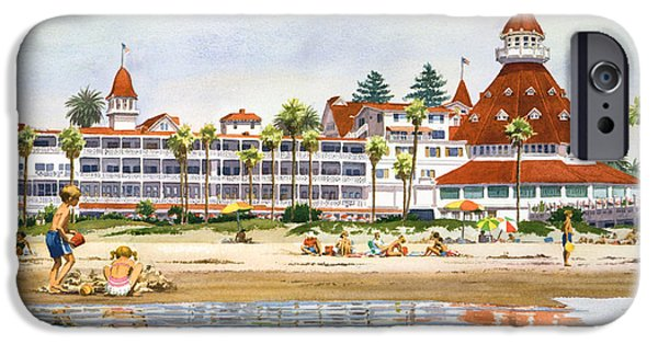California Beach iPhone Cases - Hotel Del Coronado from Ocean iPhone Case by Mary Helmreich