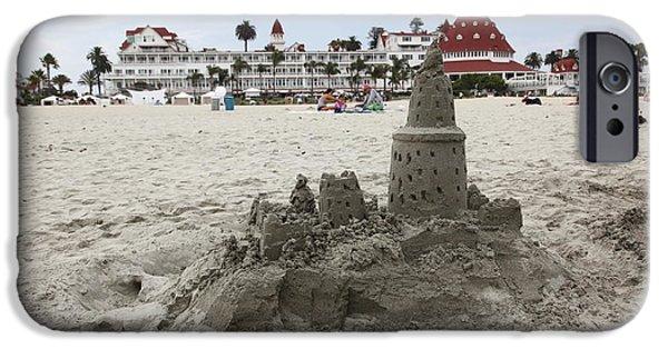 Sand Castles iPhone Cases - Hotel Del Coronado In Coronado California 5D24264 iPhone Case by Wingsdomain Art and Photography