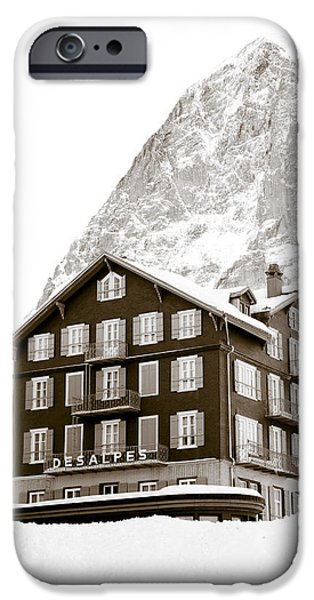 Hotel Des Alpes And Eiger North Face iPhone Case by Frank Tschakert