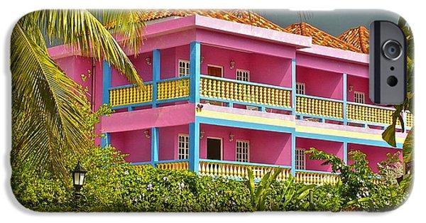 Balcony iPhone Cases - Hotel Jamaica iPhone Case by Linda Bianic