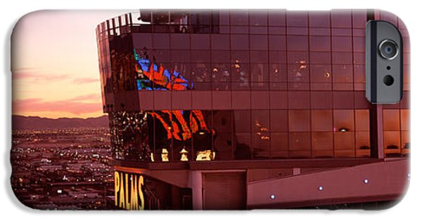 Commercial Photography iPhone Cases - Hotel Lit Up At Dusk, Palms Casino iPhone Case by Panoramic Images