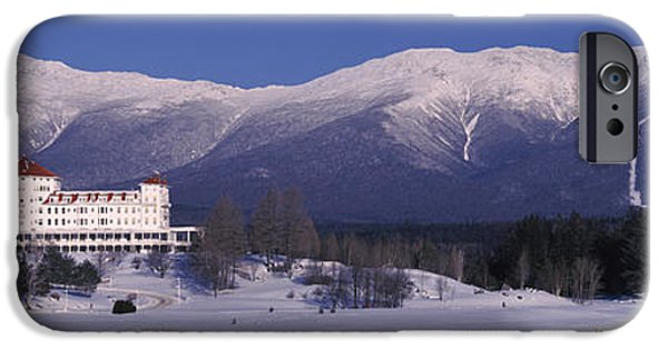 Skiing iPhone Cases - Hotel Near Snow Covered Mountains, Mt iPhone Case by Panoramic Images