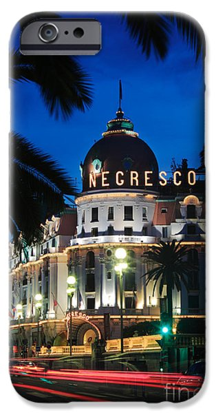 Night Lamp iPhone Cases - Hotel Negresco iPhone Case by Inge Johnsson