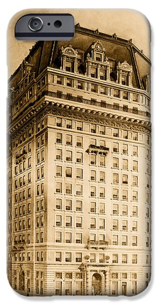 Conceptual Drawings iPhone Cases - Hotel Pontchartrain Detroit 1910 iPhone Case by Mountain Dreams