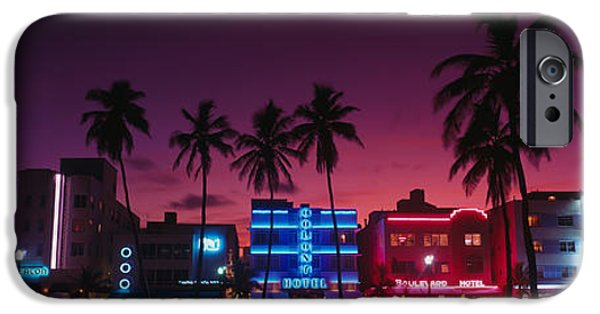 Facade iPhone Cases - Hotels Illuminated At Night, South iPhone Case by Panoramic Images