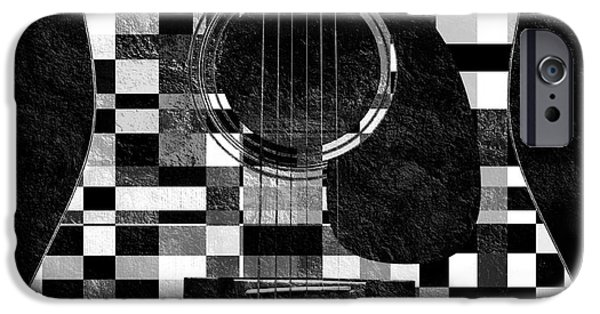 Macro Mixed Media iPhone Cases - Hour Glass Guitar Random BW Squares iPhone Case by Andee Design