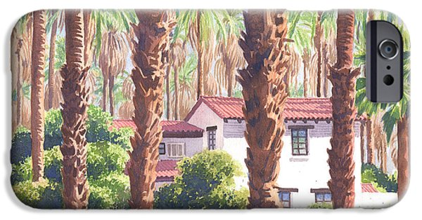 House iPhone Cases - House among Date Palms in Indio iPhone Case by Mary Helmreich