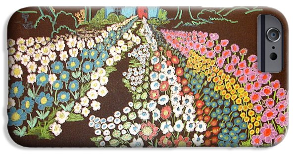 Pathway Drawings iPhone Cases - House And Flowers iPhone Case by Joseph Hawkins