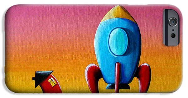 Outer Space iPhone Cases - House Builds A Rocketship iPhone Case by Cindy Thornton