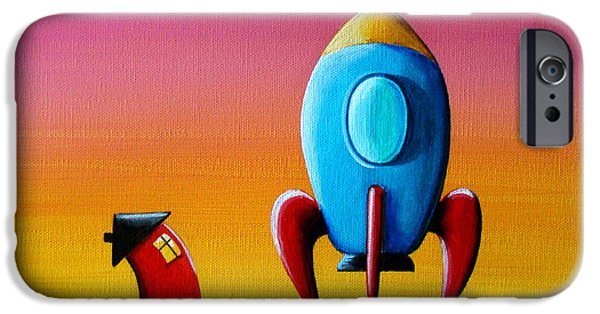 Rockets iPhone Cases - House Builds A Rocketship iPhone Case by Cindy Thornton
