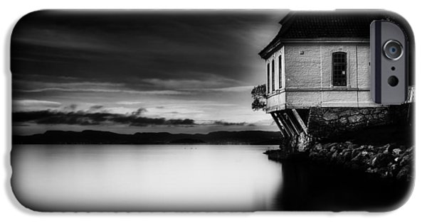 Norway iPhone Cases - House by the Sea BW iPhone Case by Erik Brede