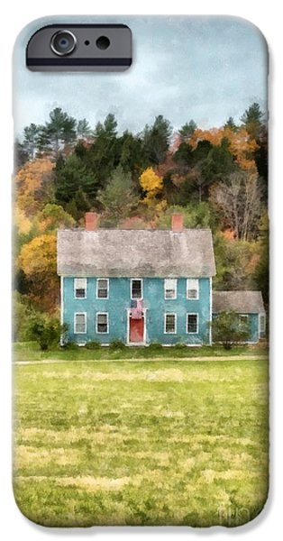 Fall Foliage iPhone Cases - House by the woods iPhone Case by Edward Fielding