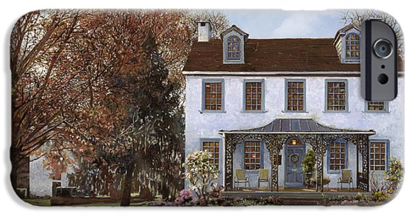 Usa Paintings iPhone Cases - house Du Portail  iPhone Case by Guido Borelli