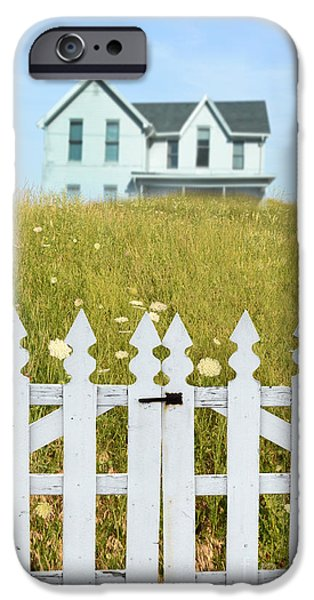 Home Improvement iPhone Cases - House in a Field Behind a Picket Gate iPhone Case by Jill Battaglia