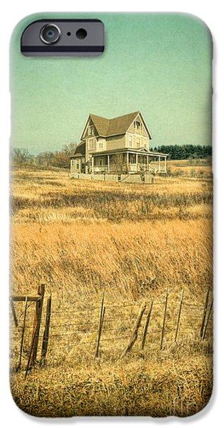 Home Improvement iPhone Cases - House in a Field iPhone Case by Jill Battaglia
