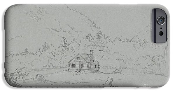 Maine Drawings iPhone Cases - House in Mount Desert iPhone Case by  Thomas Cole