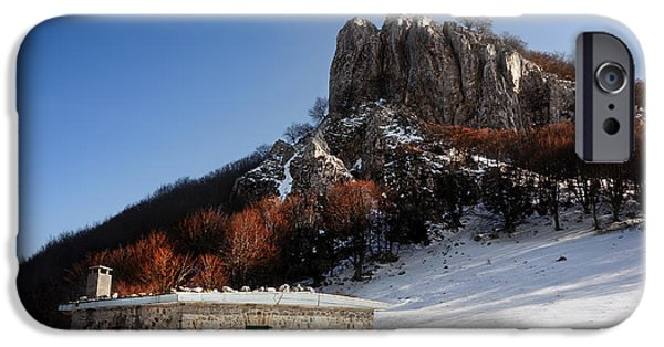 Mountain Cabin iPhone Cases - House In Mountain With Snow In Winter iPhone Case by Mikel Martinez de Osaba