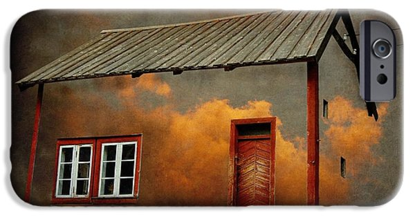 Texture iPhone Cases - House in the clouds iPhone Case by Sonya Kanelstrand
