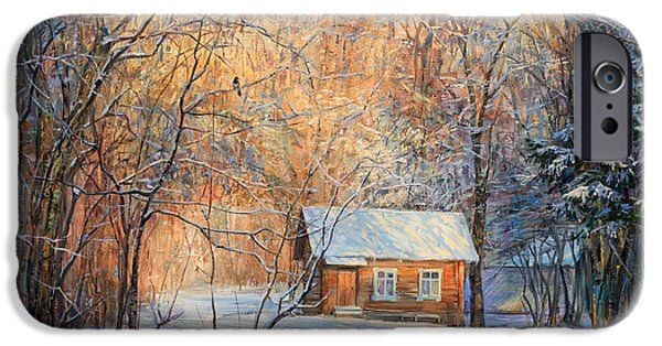 Snowy Night iPhone Cases - House in the winter forest  iPhone Case by Galina Gladkaya