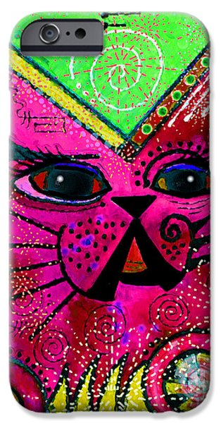 Animal Cards Mixed Media iPhone Cases - House of Cats series - Glitter iPhone Case by Moon Stumpp
