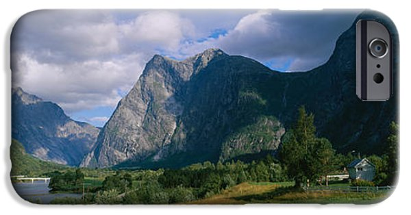 Norway iPhone Cases - House On A Mountainside, Marstein iPhone Case by Panoramic Images