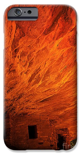 Slickrock iPhone Cases - House On Fire Ruins iPhone Case by Priscilla Burgers