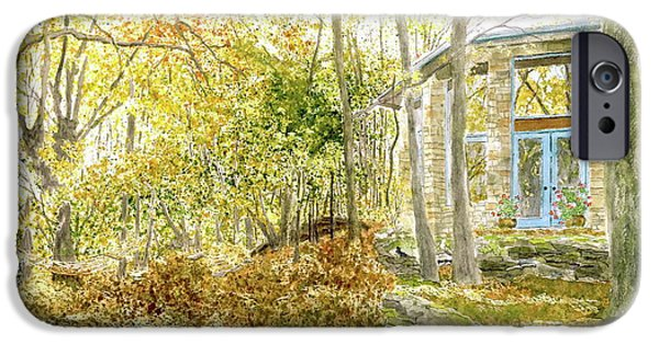 Autumn iPhone Cases - House on Grandmother Mountain - Golden Moments  iPhone Case by Joel Deutsch