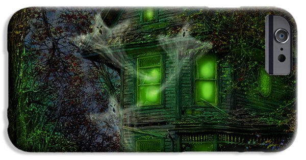 Haunted House iPhone Cases - House on Haunted Hill iPhone Case by Doug Kreuger