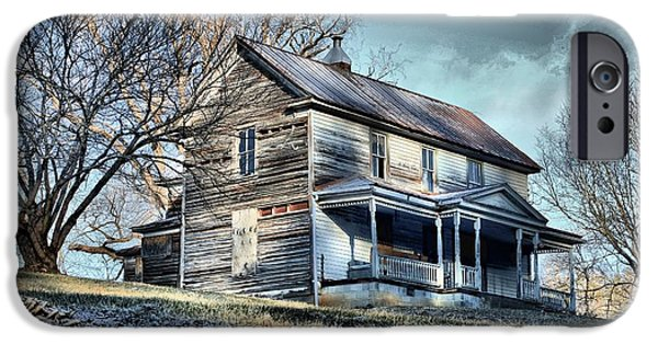 Haunted House iPhone Cases - House on the Hill iPhone Case by Carol R Montoya