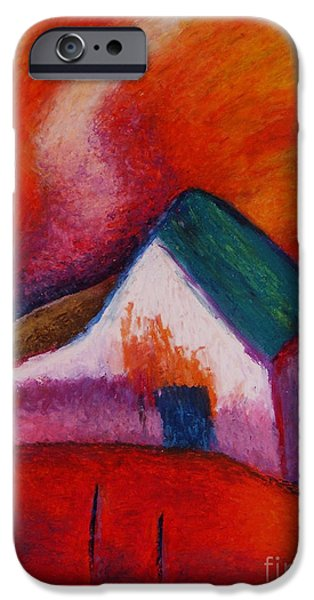Pathway Pastels iPhone Cases - House on the hillside iPhone Case by Jon Kittleson