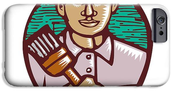 Block Prints iPhone Cases - House Painter Paintbrush Woodcut Linocut iPhone Case by Aloysius Patrimonio