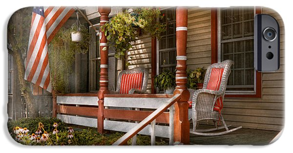 4th July Photographs iPhone Cases - House - Porch - Traditional American iPhone Case by Mike Savad