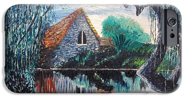 Willow Lake Paintings iPhone Cases - House Through a Willow iPhone Case by Jim Janeway