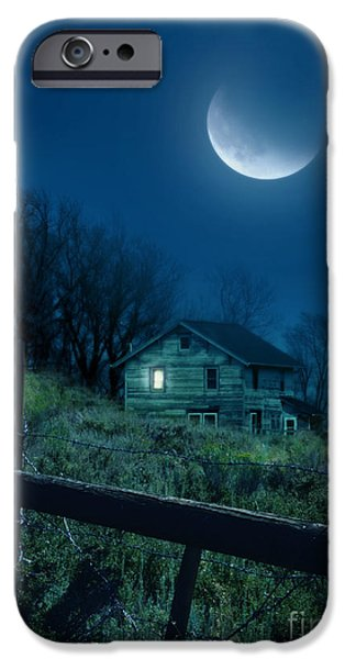 Home Improvement iPhone Cases - House Under the Moon iPhone Case by Jill Battaglia
