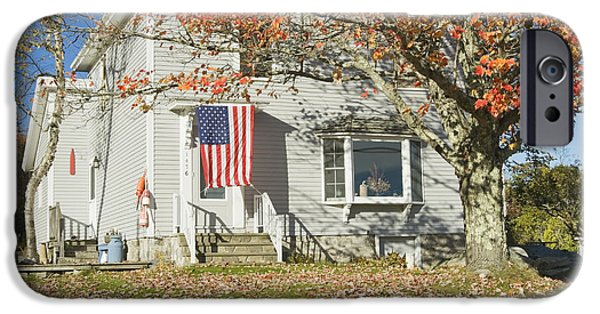Flag iPhone Cases - House with American Flag iPhone Case by Keith Webber Jr