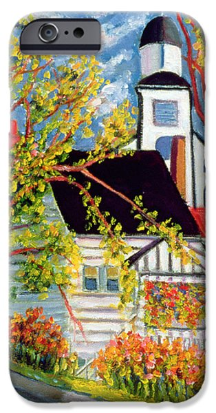Clapboard House iPhone Cases - House with Church Badeck iPhone Case by Patricia Eyre