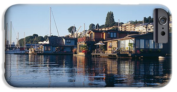 Built Structure iPhone Cases - Houseboats In A Lake, Lake Union iPhone Case by Panoramic Images