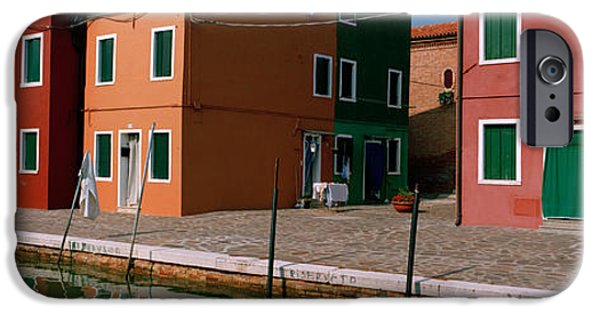 Built Structure iPhone Cases - Houses Along A Canal, Burano, Venice iPhone Case by Panoramic Images