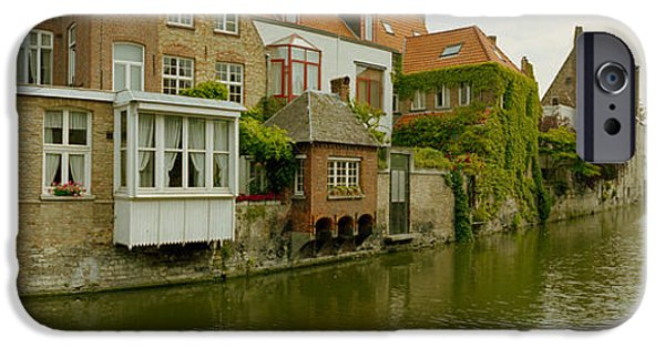 History Channel iPhone Cases - Houses Along A Channel, Bruges, West iPhone Case by Panoramic Images