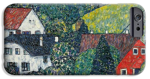 Austrian iPhone Cases - Houses at Unterach on the Attersee iPhone Case by Gustav Klimt