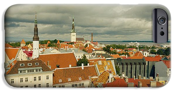 Estonia Photographs iPhone Cases - Houses In A Town, Tallinn, Estonia iPhone Case by Panoramic Images
