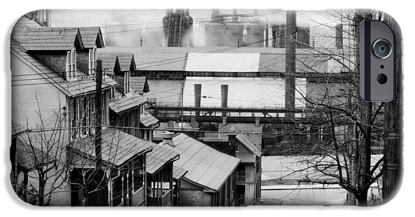 1940s iPhone Cases - Houses Near Bethlehem Steel Company 1940s iPhone Case by Mountain Dreams