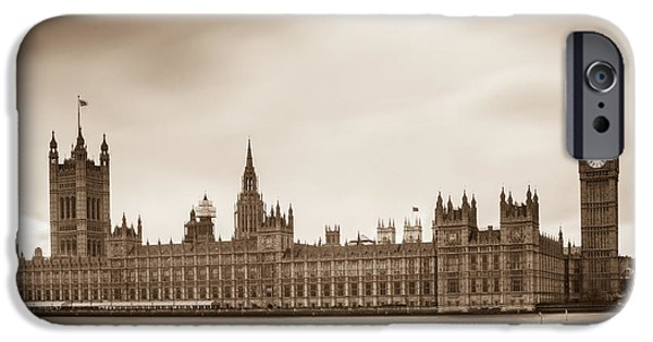 St Elizabeth iPhone Cases - Houses of Parliament and Elizabeth Tower in London iPhone Case by Semmick Photo