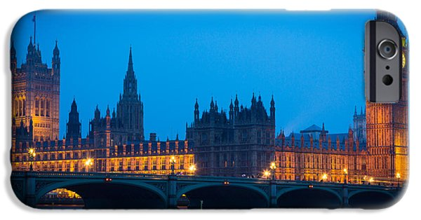 Night Lamp iPhone Cases - Houses of Parliament iPhone Case by Inge Johnsson