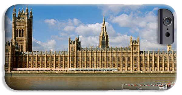 19th Century iPhone Cases - Houses Of Parliament, Water And Boat iPhone Case by Panoramic Images