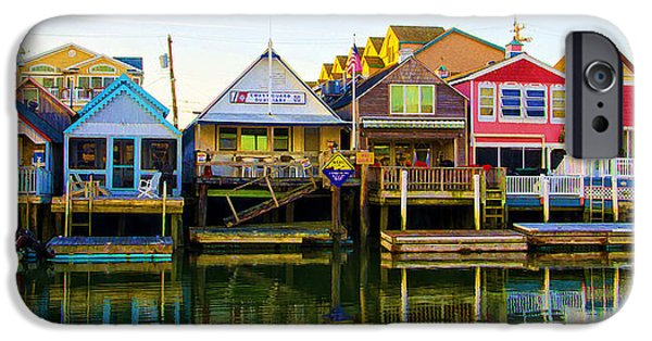 Coastguard iPhone Cases - Houses on Cape May Harbor iPhone Case by Bill Cannon
