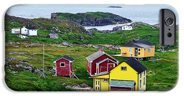 Newfoundland iPhone Cases - Houses on Little Fogo Island Newfoundland iPhone Case by Lisa  Phillips