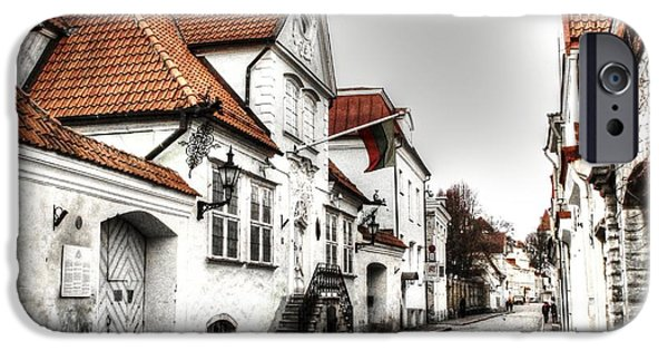 House Pyrography iPhone Cases - Houses streets of Tallinn iPhone Case by Yury Bashkin