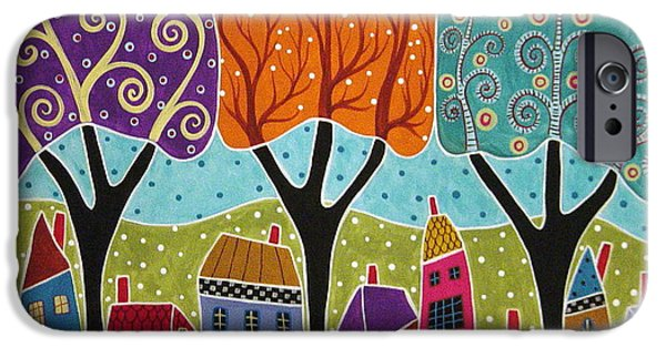 House iPhone Cases - Houses Trees Folk Art Abstract  iPhone Case by Karla Gerard
