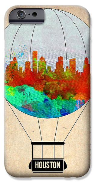 Town iPhone Cases - Houston Air Balloon iPhone Case by Naxart Studio